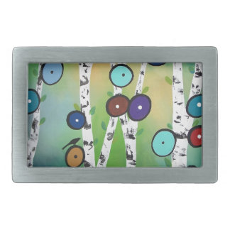Birches Landscape Art Image Rectangular Belt Buckle