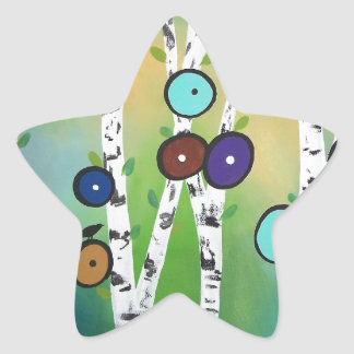 Birches Landscape Art Image Star Sticker