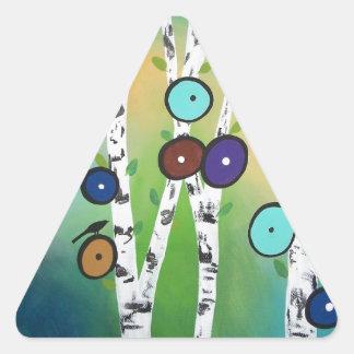 Birches Landscape Art Image Triangle Sticker