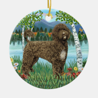 Birches - Portuguese Water Dog #2-brown Double-Sided Ceramic Round Christmas Ornament
