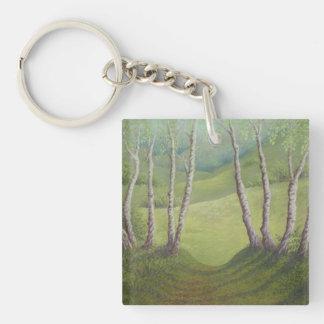 Birches, Springtime Walton Heath Acrylic Key Ring Double-Sided Square Acrylic Keychain
