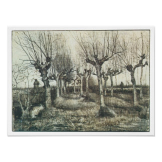 Birches with Woman and Flock of Sheep, Van Gogh Poster
