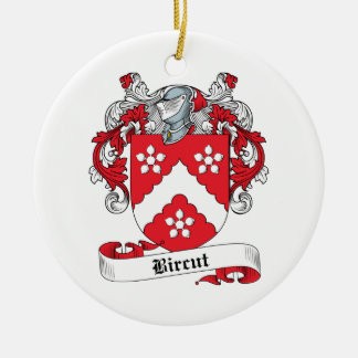 Bircut Family Crest Double-Sided Ceramic Round Christmas Ornament