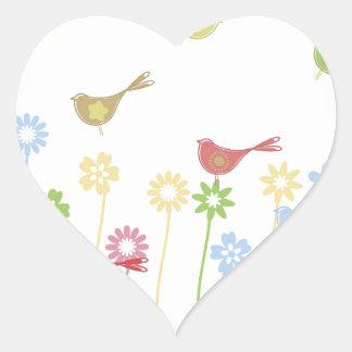 bird3 pegatina en forma de corazón
