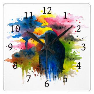 Bird 71 Crow Raven Square Wall Clock