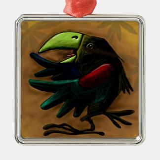 bird-9870-tropical-exotic-funny-parrot-macaw adorno navideño cuadrado de metal