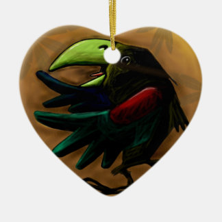 bird-9870-tropical-exotic-funny-parrot-macaw adorno navideño de cerámica en forma de corazón