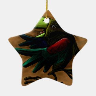 bird-9870-tropical-exotic-funny-parrot-macaw adorno navideño de cerámica en forma de estrella