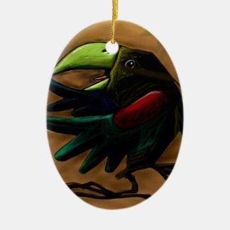 bird-9870-tropical-exotic-funny-parrot-macaw adorno navideño ovalado de cerámica