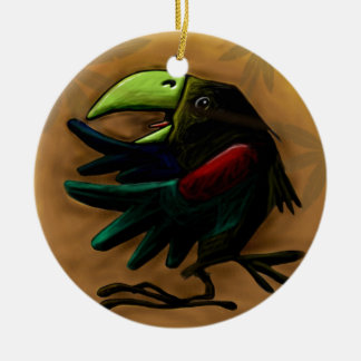 bird-9870-tropical-exotic-funny-parrot-macaw adorno navideño redondo de cerámica