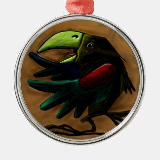bird-9870-tropical-exotic-funny-parrot-macaw adorno navideño redondo de metal