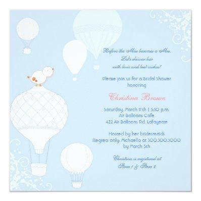 Bird + Air Balloons Sky Blue Bridal Shower Invitation