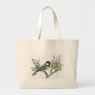 Bird and Apple Blossom Large Tote Bag