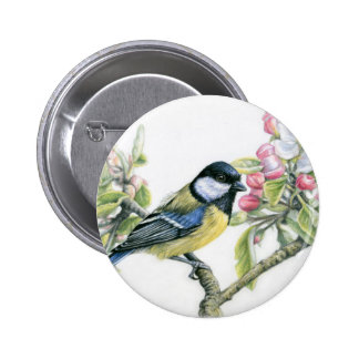Bird and Apple Blossom Pin Redondo 5 Cm