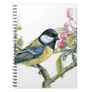 Bird and Apple Blossom Spiral Notebook