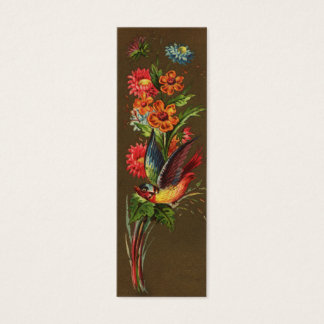 Bird and Assorted Flowers Victorian Mini Business Card