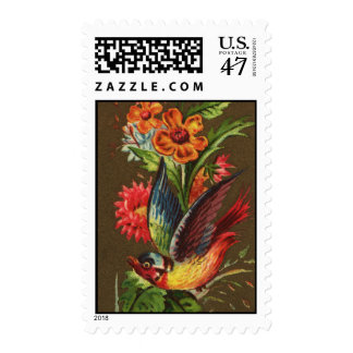Bird and Assorted Flowers Victorian Postage