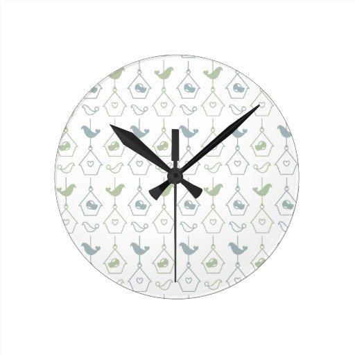 Bird and Bird Boxes Wall Clock