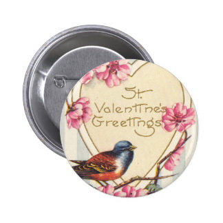 Bird and Bloom St Valentine's Greetings Pinback Button