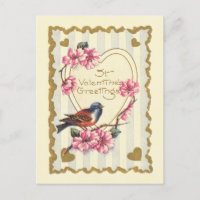 Bird and Bloom St Valentine's Greetings Holiday Postcard