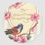 Bird and Bloom St Valentine's Greetings Round Stickers
