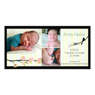 Bird and Blossoms in Neutrals Birth Announcement Picture Card