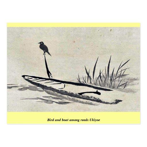 Bird and boat among reeds Ukiyoe Postcard