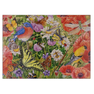 Bird and Butterflies Glass Cutting Board