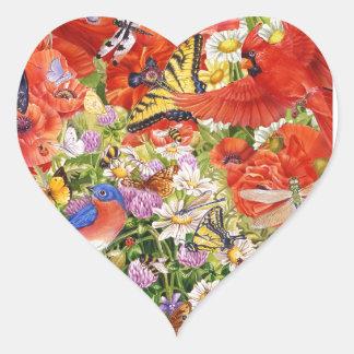 Bird and Butterflies Heart Sticker