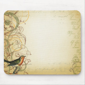 Bird and Butterfly Swirl Fancy Mouse Pad