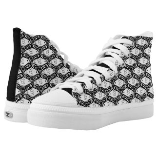 Bird and Butterfly Tessellation in Black and White High-Top Sneakers