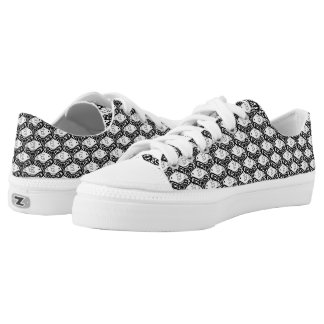 Bird and Butterfly Tessellation in Black and White Low-Top Sneakers