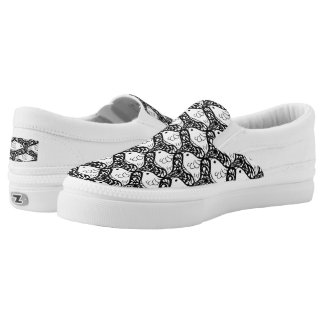 Bird and Butterfly Tessellation in Black and White Slip-On Sneakers
