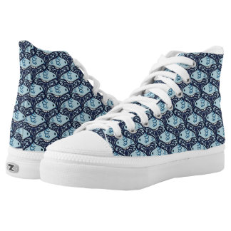 Bird and Butterfly Tessellation in Blue High-Top Sneakers