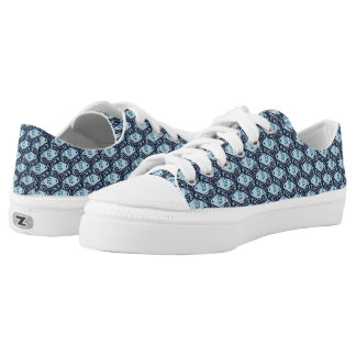 Bird and Butterfly Tessellation in Blue Low-Top Sneakers