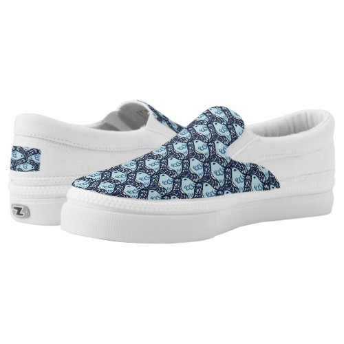 Bird and Butterfly Tessellation in Blue Slip-On Sneakers