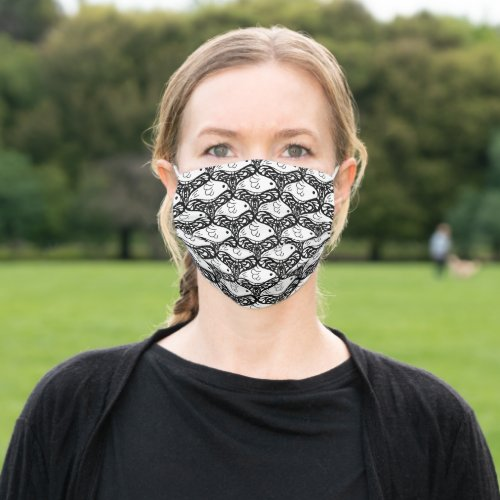 Bird and butterfly tessellation pattern b&w cloth face mask