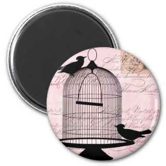 Bird and Cage Steampunk Refrigerator Magnets