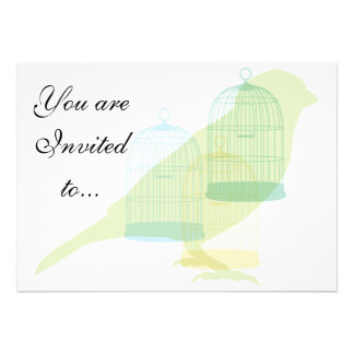 Bird and cage themed invitation