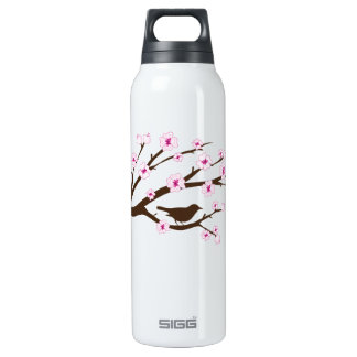 Bird and Cherry Blossoms Thermos Water Bottle