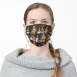 Bird and chipmunk party scene face mask