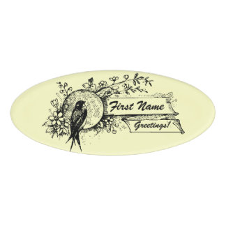 Bird and Delicate Floral Design with Text Ribbons Name Tag