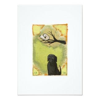 Bird and Dog - unique tiny art original painting 5x7 Paper Invitation Card