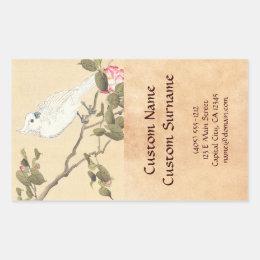 Bird and Flower Album, Cockatoo and Camellia Rectangular Sticker