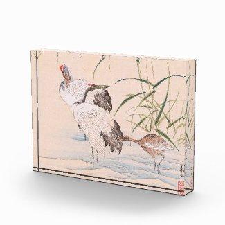 Bird and Flower Album, Wading Cranes vintage art Acrylic Award