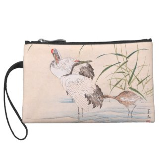 Bird and Flower Album, Wading Cranes vintage art Wristlet Purse