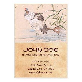 Bird and Flower Album, Wading Cranes vintage art Business Cards