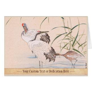 Bird and Flower Album, Wading Cranes vintage art Card