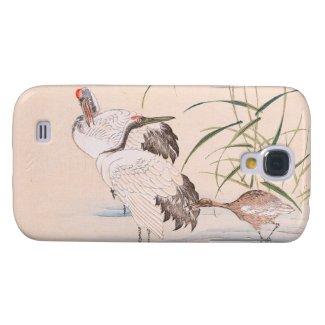 Bird and Flower Album, Wading Cranes vintage art Samsung Galaxy S4 Cases