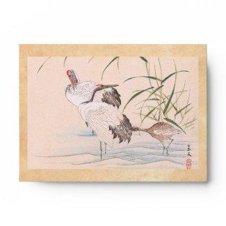 Bird and Flower Album, Wading Cranes vintage art Envelope